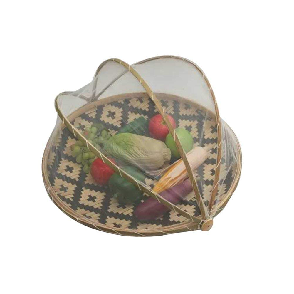 Handmade Round Bamboo Storage Basket Anti-Mosquito Dustproof Basket Picnic Basket with Gauze for Fruit Vegetable Bread with Protection Mesh Cover
