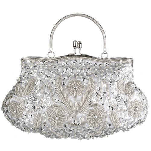 (MG Collection Myra Beaded Evening Bag, Silver, One Size)