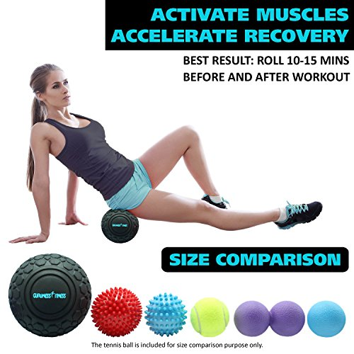 Massage Ball Set for Deep Tissue Recovery, Trigger Point Therapy, Myofascial Release, Muscle Knots, Mobility MOD, Plantar Fasciitis- 5'' Foam Roller Ball, Peanut Double Ball, Spiky Balls, Lacrosse Ball by GURUNESS FITNESS (Image #5)