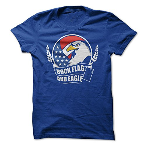 Flag Eagle Rock - Rock Flag and Eagle-T-Shirt/Royal Blue/XL - Made On Demand in USA