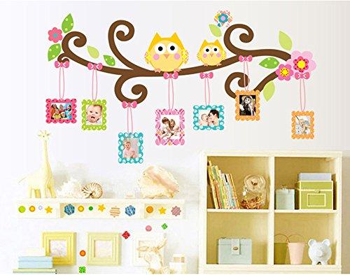 ufengke® Buntes Bild Bilderrahmen Blume Reben und Comic-Vögel Wandsticker, Kinderzimmer Babyzimmer Entfernbare Wandtattoos Wandbilder