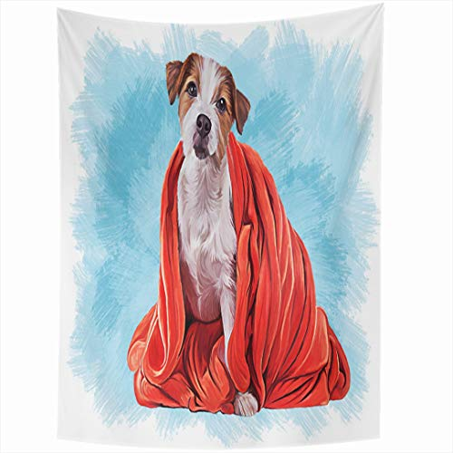 - Ahawoso Tapestry 50x60 Inch Attention Announcement Drawing Dog Jack Russell Terrier Funny Red Back Big Canine Face Wall Hanging Home Decor for Living Room Bedroom Dorm