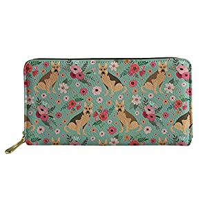SANNOVO Women Cute Dog Printed Purses Travel Leather Zippered Wallet Floral Cards Holder 1