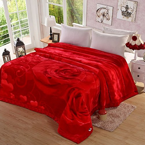 Znzbzt Wedding red blanket thick-pile carpet in winter cover wedding celebration red double blanket ,180X220-6 catty ,228 Red by Znzbzt
