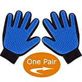 ENJOY PET Grooming Glove Brushes, Deshedding Glove Brush, Dog Bathing Mitt, Cat Brush Comb, Pet Grooming Mitts, Remove Loose Hair Easily (One Pair) (Blue)