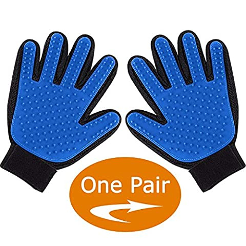Pet Grooming Glove for Dog, Shedding Gloves Brush, Dog Bathing Glove Cat Petting Glove, Gentle and Efficient Hair Groomer, Pet Grooming Mitt and De-shedding Massaging Tool (One - Friendly Cat
