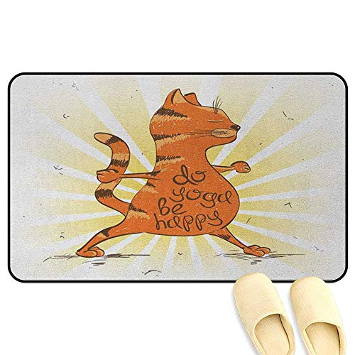 homecoco Yoga Rug Mat Welcome Doormat Funny Cat Doing Warrior Position Motivational Quote Healthy Life Humor Orange Brown Pale Yellow Decorative Floor Mat W47 x L59 INCH]()