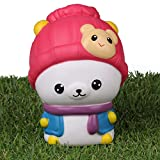 LaooDa Jumbo Squishies Slow Rising Kawaii Bear Hat Stress Relif Toy Hand Pillow For Kids Adult Party Office Toys Back to School Month Red