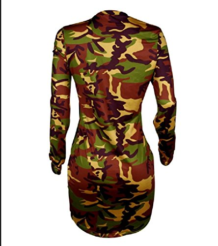 Dress Crewneck Short Out Cut Bodycon Coolred Evening 1 Women Camouflage xgT5q7En8w