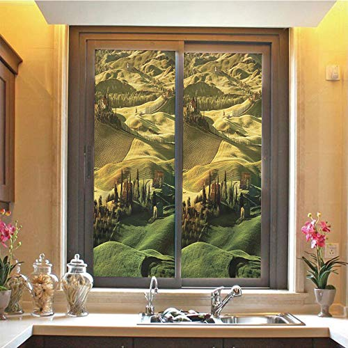 Tuscan 3D No Glue Static Decorative Privacy Window Films, Peaceful Landscape of Pienza Tuscany Vineyard Trees Meadow Hill Ancient House,17.7