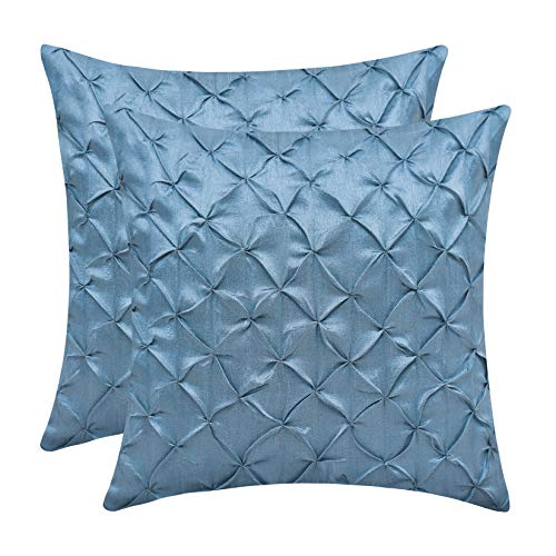 The White Petals Slate Blue Throw Pillow Covers (Faux Silk, Pinch Pleat, 18x18 inch, Pack of 2)