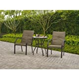 Mainstays Springcreek Patio Bistro Set 3 Pieces Steel Frames Tan Powder Coated Tempered Glass 100% Outdoor Fabric