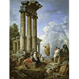 Oil painting 'Panini Giovanni Paolo Ruinas con San Pablo predicando Ca. 1735 ' printing on Perfect effect canvas , 30 x 40 inch / 76 x 101 cm ,the best Bedroom decor and Home gallery art and Gifts is this Amazing Art Decorative Canvas Prints