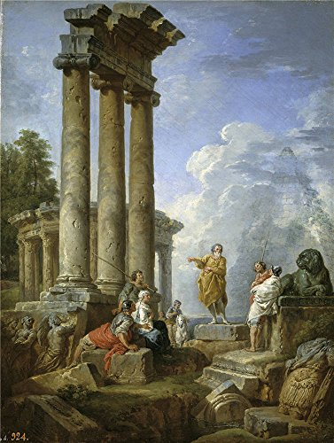 Oil Painting 'Panini Giovanni Paolo Ruinas Con San Pablo Predicando Ca. 1735' 18 x 24 inch / 46 x 61 cm , on High Definition HD canvas prints is for - Flat Kiosk Iron