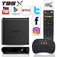 ZMVA T95X PLUS Android TV Box Amlogic S905X Quad-core ,2G /16GB H.265 Video Decoder Mini PC HD 3D TV Devices WIFI smart set-top boxes 64 Bits and True 4K Playing WIFI 2.4Ghz with a Wireless Keyboard