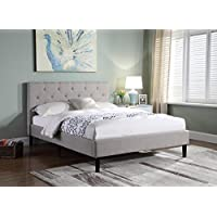 Home Life Premiere Classics Cloth Light Grey Silver Linen 51 Tall Headboard Platform Bed with Slats King - Complete Bed 5 Year Warranty Included 021