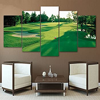Amazon.com: Green Grass Golf Course Field Wall Art Canvas Prints ...