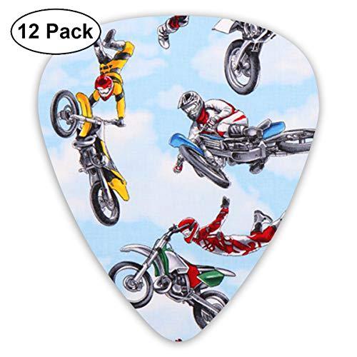 LiuYiFeii Blue Motorbike Motocross Sports 12pcs Guitar Picks Rock Band Mix Guitar Picks Musical Accessories,Rock Band Guitar Picks