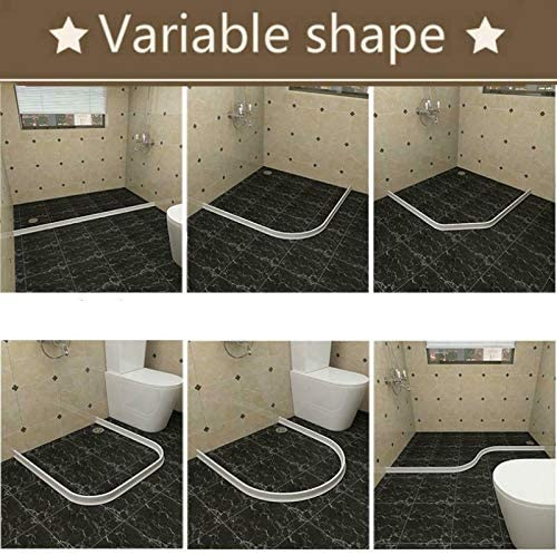 Shower Barrier and Retention System and Keeps Water Inside Threshold Door Seal Retainer System Bendable Silicone Water Barriers Floor Separation Strips Glomixs Bathroom Kitchen Water Stopper