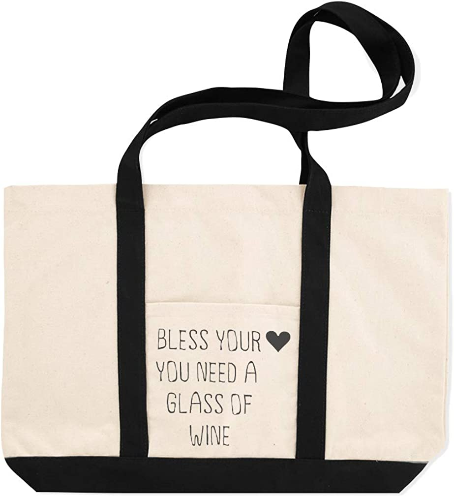 Canvas Shopping Tote Bag Bless Your Heart You Need A Glass of Wine Bless Your Heart Beach for Women