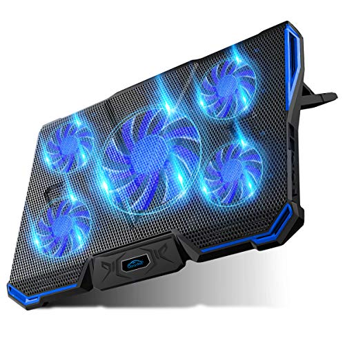 5 Pack Blue Led - Carantee Laptop Cooling Pad 5 Quite Fans Notebook Cooler Pad USB Powered, Blue LED Light, 7 Level Adjustable Mount Stands (Blue)