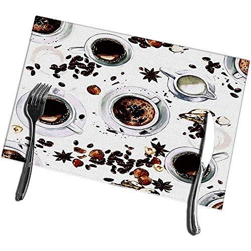 Juego de manteles individuales para mesa de comedor Juego de 6 tazas de cafe Vista desde arriba Alfombrillas de cocina de acuarela 12 X