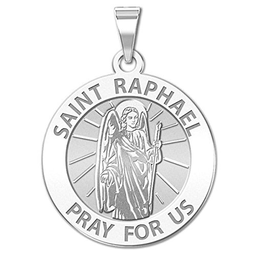 Saint Raphael Religious Medal - 2/3 Inch Size of Dime, Solid 14K White Gold (St Francis Medal White Gold compare prices)