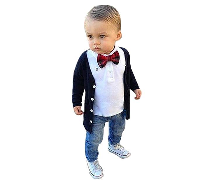 b22acb13df5c Amazon.com  Photno 3pcs Kids Toddler Boys Gentleman Coat Jacket+ ...