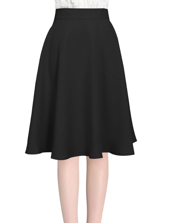 Allegra K Women's Knee Length Hidden Back Zipper Casual Full Skirt ...