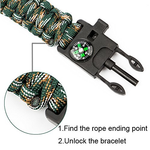 Epartswide Multifunctional Outdoor Survival Paracord Bracelet with Flint Fire Starter,Compass,Emergency Whistle&Knife/Scraper Pack of 7 by Epartswide (Image #5)