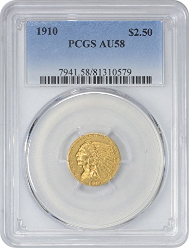 1910 Gold Indian Two and a half Dollar AU58 PCGS