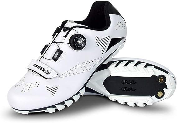 Darevie - Zapatillas de Ciclismo para Hombre (Parte Superior de Piel sintética, Suela de TPU importada, Compatible con SPD), Blanco (Blanco), 44 EU: Amazon.es: Zapatos y complementos
