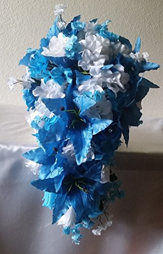 Malibu Blue White Rose Tiger Lily Cascading Bridal Wedding Bouquet & (Cascading Rose Bouquet)