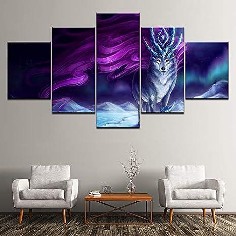 PEJHQY Arte de la Pared Marco Impresiones de la Lona Pinturas de la Sala de Estar 5 Piezas Color Abstracto Nebulosa León Constelación Cartel Imágenes,Cuadros en Lienzo 5 Piezas Blanco y Negro