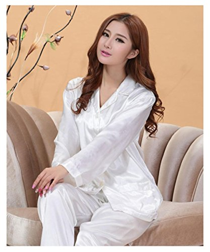 Ladies Pajamas Set Satin Pajama Loose Sleepwear Top Bottom Shirt Trousers Pants Color:B25(White) Size Type:Regular Intimates & Sleep Size (Women's):L
