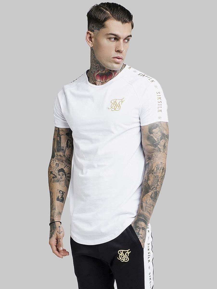 White Sik Silk T-Shirt Lurex Taped Crew Neck