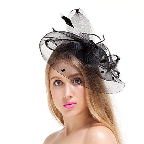 Valdler Elegant Women Lady Girls Feather Net and Veil Fascinator Hair Clip Hat Hair Accessories Clip (Black)