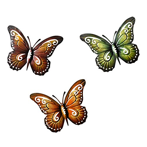 Metal Butterfly Wall Decor - Colored Metal Butterflies, Set of Three Wall Art Product SKU: (Insect Wall Decor)