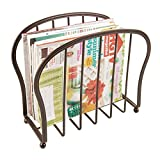 mDesign Decorative Modern Magazine Holder, Organizer - Standing Rack for Magazines, Books, Newspapers, Tablets, Laptops in Bathroom, Family Room, Office, Den - Bronze Wire