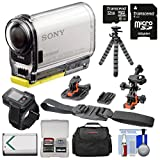 Sony Action Cam HDR-AS100VR Wi-Fi GPS HD Video Camera Camcorder & Live View Remote with 32GB Card + Battery + Flat Surface & Helmet Mounts + Case + Tripod Kit