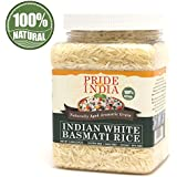 Pride Of India - Extra Long Indian Basmati Rice - Naturally Aged Aromatic Grain, 1.5 Pound Jar