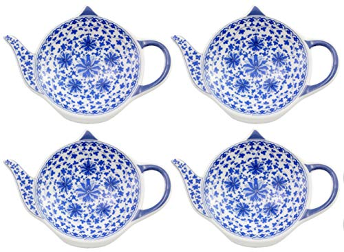 (Teapot-Shaped Tea Bag Coasters (4-Pack); Blue & White Tea Spoon/Teabag Caddies)