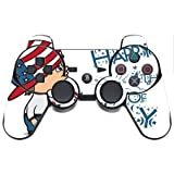 Cute Boy with American Flag Hat Happy 4th of July Quote Celebration Image Design Pattern PS3 Dual Shock wireless controller Vinyl Decal Sticker Skin by Trendy Accessories