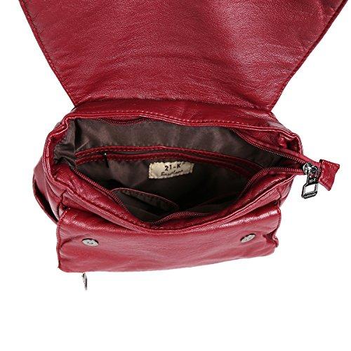 21KBARCELONA - Bolso mochila  de Piel Lisa para mujer rojo