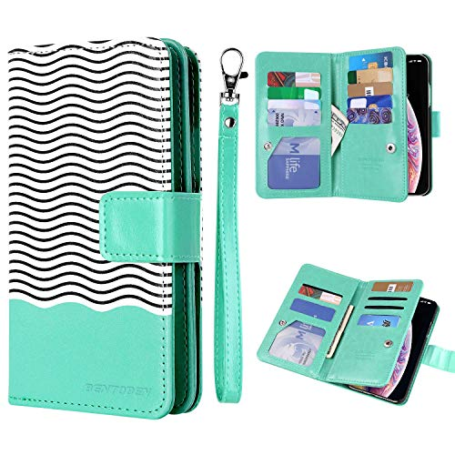 iPhone XS (2018) Case, iPhone X/10 Wallet Case, BENTOBEN iPhone X/XS Wallet Case Glitter Faux Leather Flip Credit Card Holder Wristlet Shockproof Protective Case for Apple iPhone X/XS 5.8, Mint Green