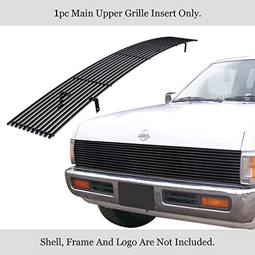 - APS Compatible with 1986-1997 Nissan Pickup with S. Beam Type H Lamps Main Upper Stainless Steel Black 8x6 Horizontal Billet Grille Insert N85230J