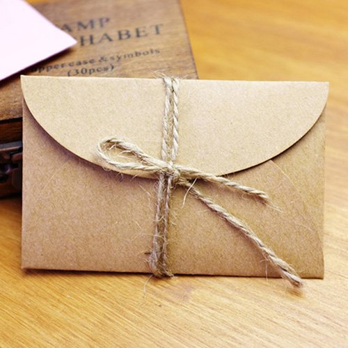 Chengor 200pcs/lot 5.8x9cm Handmade mini kraft paper envelope