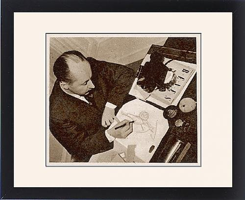 Framed Print of Christian Dior sketching a fashion design, 1948 by Prints Prints Prints