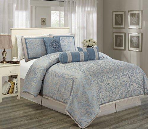 Hillsbro 7 Piece Moorea Blue Pillow Sham Comforter Set Full