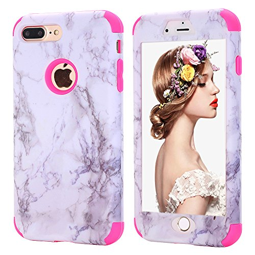 iPhone 7 plus Marble Case,iPhone 8 plus Case for Girls,Kudex Ultra Slim Clear White Marble Pattern Design Dual Layer Shockproof Anti-Scratch Hybrid High Impact Protective Case Cover for Women/M(Pink)